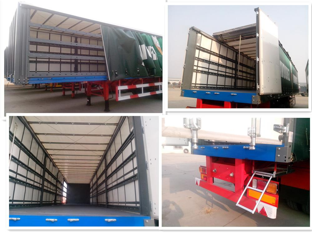 Tri axle enclosed type 40ft curtain side semi trailer