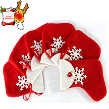 Promotional Red Christmas stcoking shape gift bag ,candy bag with ribbon hanger