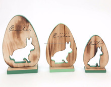 Popular bunny shaped laser cut painted spring easter wooden decoration