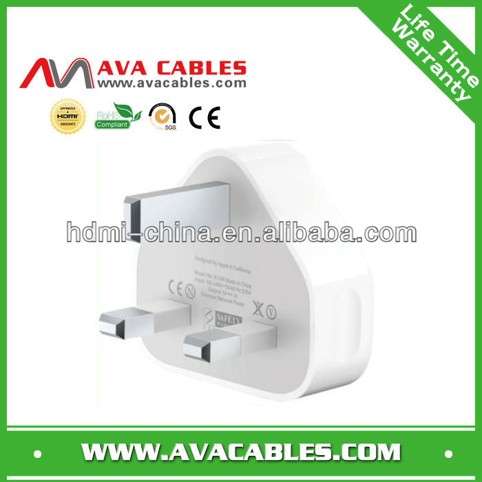 high quality uk wall charger with 3pin wall adapter for uk