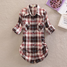 Hot sale fashion long sleeve plaid blouse checks cotton lady shirt woman shirt