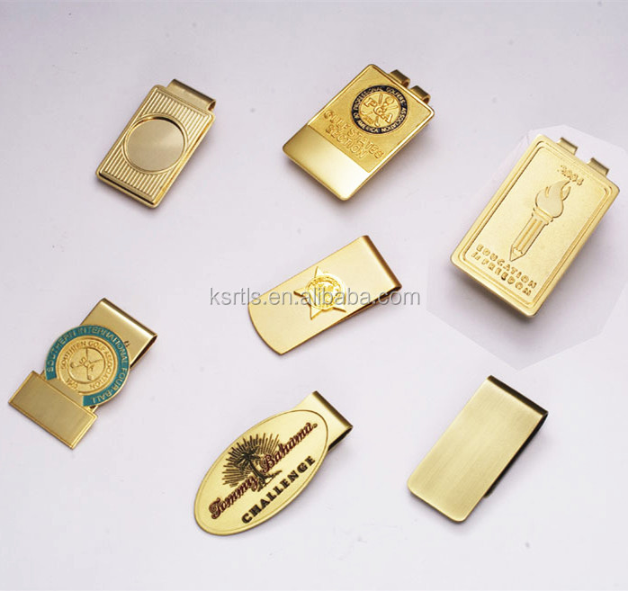 Custom soft enamel gold metal money clip for man fashion