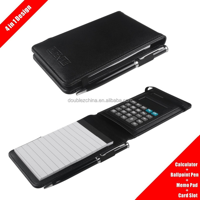 Leather Pocket Notebook Cover Jotter Organizer Memo Pad Holder with Calculator, 50 Pages Note Paper, Pen and Business Card Slot