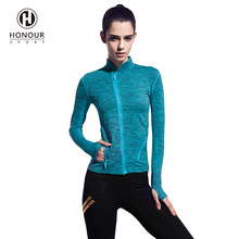 Custom High Quality Autumn Fashion Women Full Zip Workout Running Long Jacket with Thumb Holes