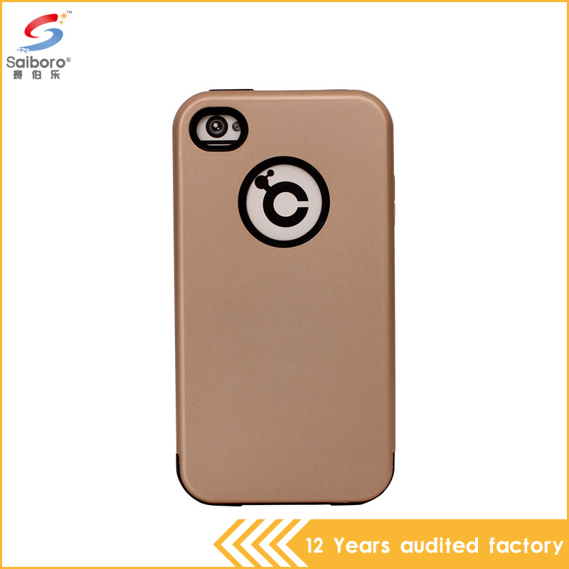 2016 unbreakable TPU PC shockproof rose gloden cell phone case for iphone 4