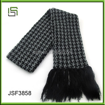 New fashion cheap winter check scarf with tassels