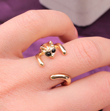 Handmade Fashion Jewelry Cute Animal Silver Coloed Cat Open Finger Ring