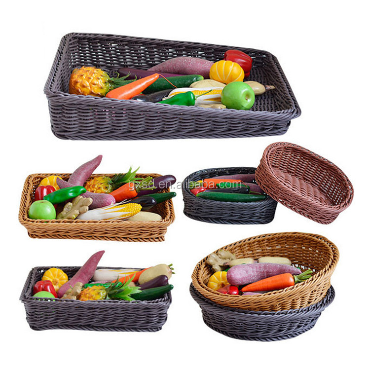 Professional supply supermarket equipment eco-friendly PE wicker fruit basket wholesale for display rack