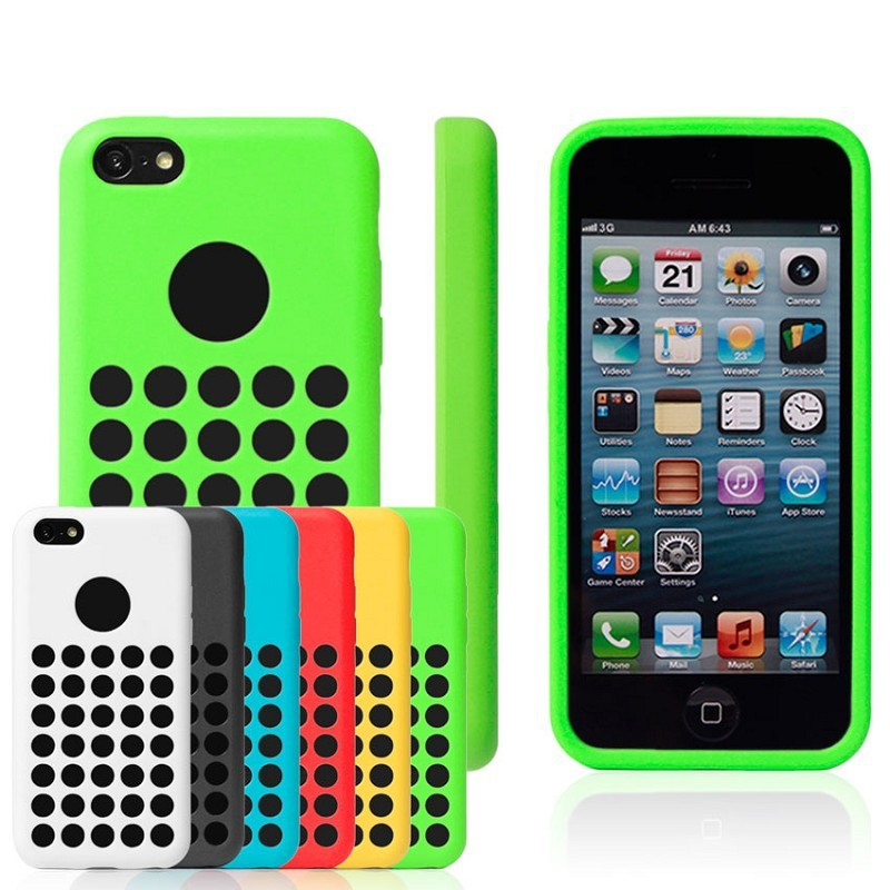 Stock silicone phone case for 5c/hole silicone phone case