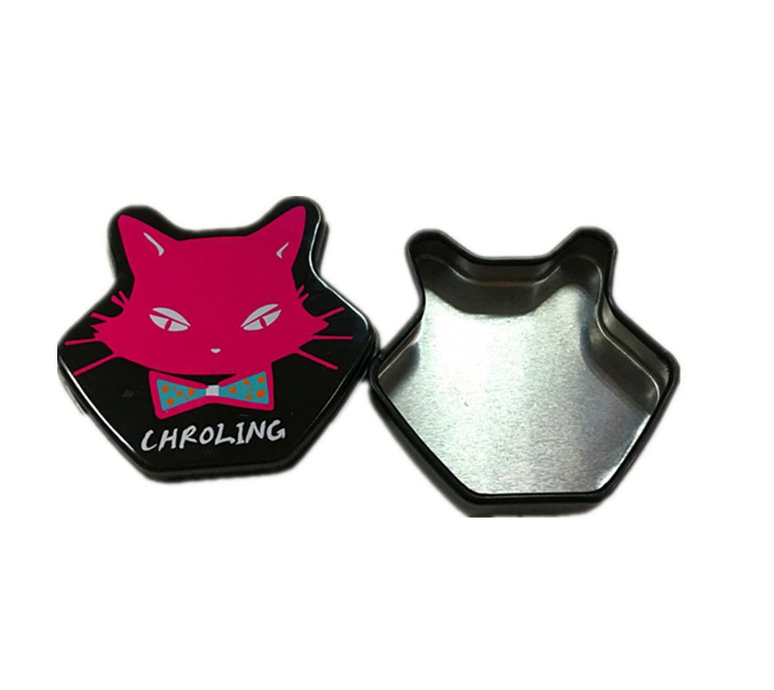 Mini Cute Cat Shape Tin Can For Lip Protector Lip Blam Packaging Box