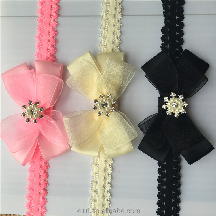2017 New Girl Kid Rose Bow Lace Flower Elastic Headband Newborn Hairbands Baby Pleasant