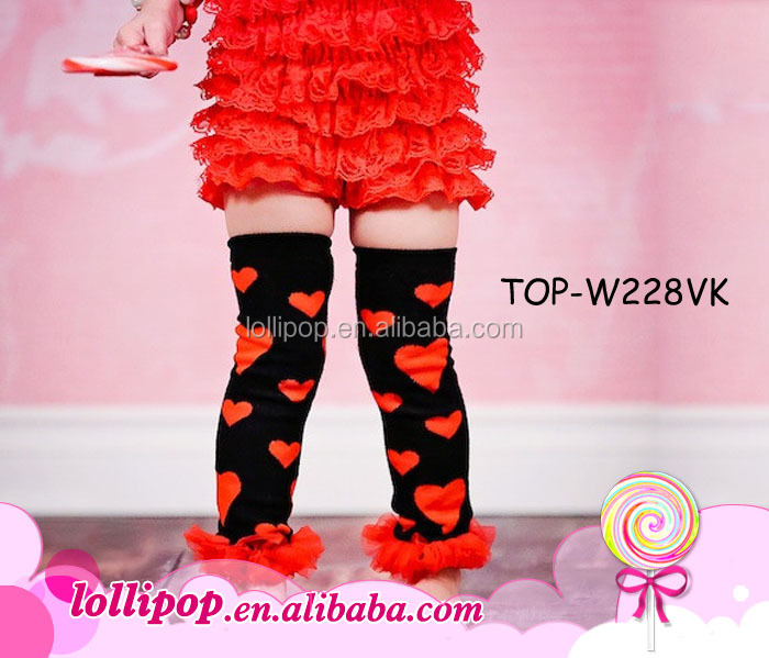 Red heart with chiffon hemlines black cotton baby leg warmers
