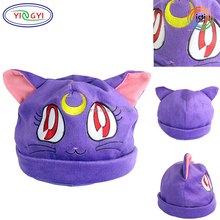 F578 Winter Warm Plush Cartoon Anime Hat Purple White Cat Anime Hat