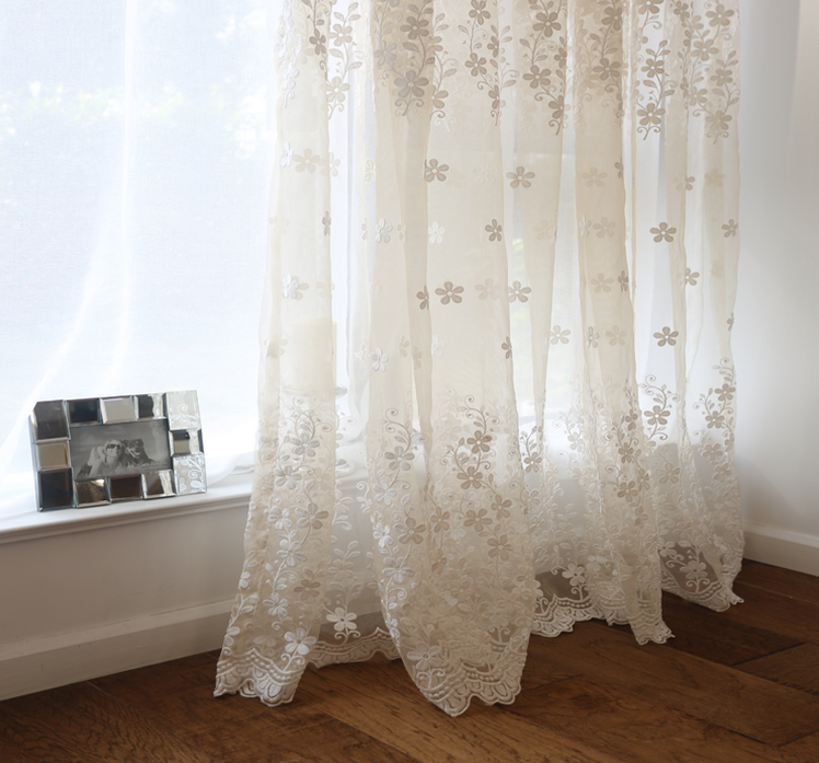 hotsale fashion all match 3D fancy elegant lace curtain flower embroidery readymade luxury voile curtain