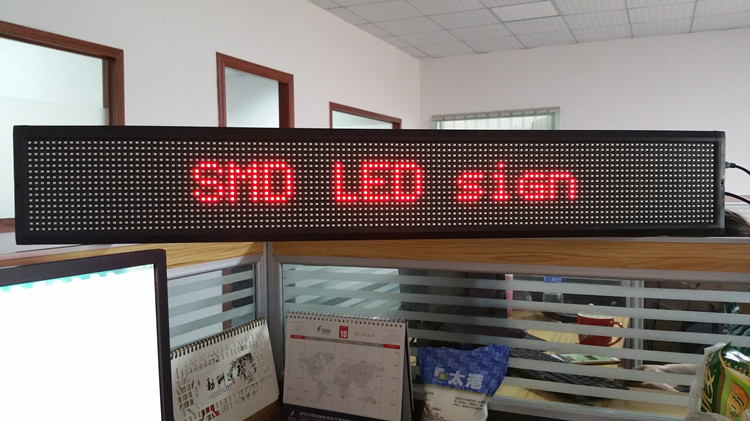 P7.62-16x128R indoor programmable double two line red color led sign board for bus display messages