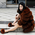CX-G-A-84A High Quality Korean Style Women Overcoat Natural Fox Fur Coat