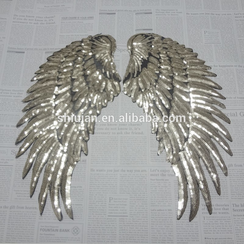 custom made sequin wing applique patches in wholesale
