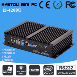 Portable mini pc industrial desktop computers i5 4200u 8G RAM mSATA 64G SSD led industrial pc dual rs232 com port