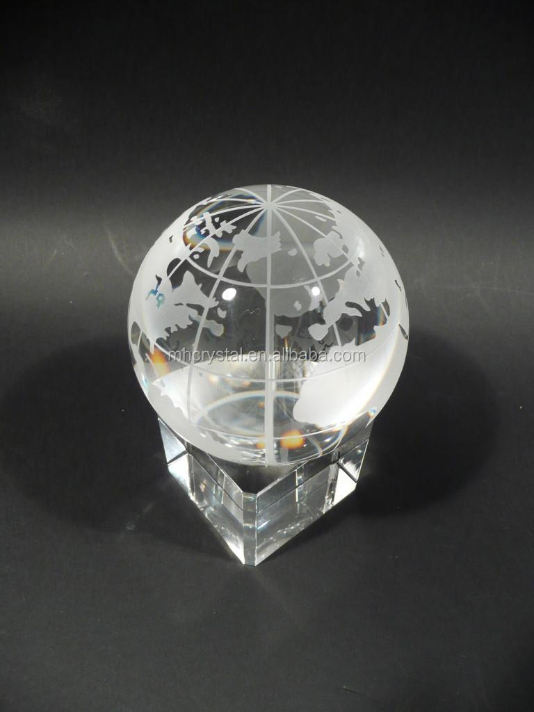 Crystal World Globe on Cube MH-0217