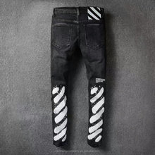 White and black print art brand stock skinny pant dy custom logo high quality denim jeans wholesale manufacturers factory China