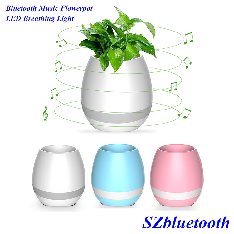 Funny release pressure waterproof music flowerpot wireless stereo bluetooth speaker with touch sensor color LED breathing light