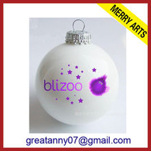 Wholesale 2013 hot style christmas decoration christmas glass ball ornament white christmas ball with customered logo