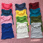 2017 new style wholesale baby girls Clothes sleeveless ruffle shirt multi-colors cotton T-shirt