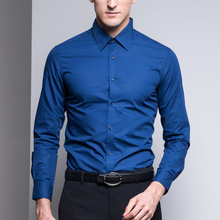 Blue Hot Sell Plus Size Men's Fitted Dress Shirts In Bulk