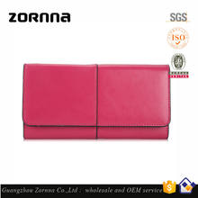 2016 rose multi color lady long 3 folding purse fashion women's genuine leather travel wallet