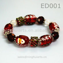 Christmas painted antique glass beads golden Alibaba China Supplier bracelet