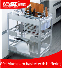 Kitchen cabinet sliding three tier aluminum buffering spice holding basket