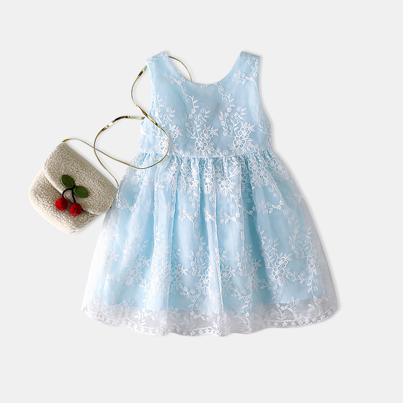 YDA2968children frock design 2017 flower lace sweet kid dress