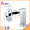 New polished double handle side mounted square bathtub faucet