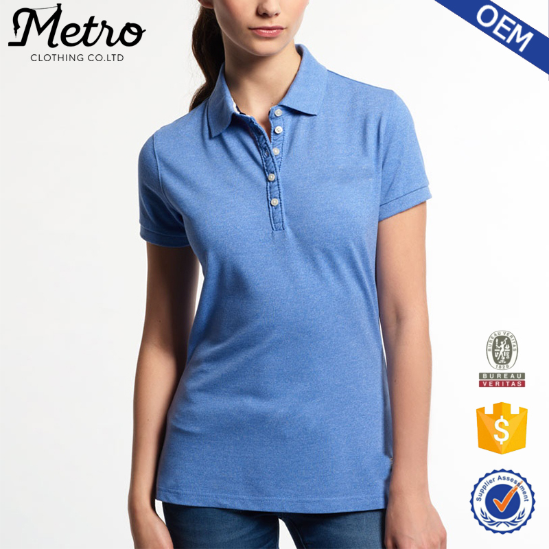 Custom Brand Women's Classic Plain Pique Polo T shirts