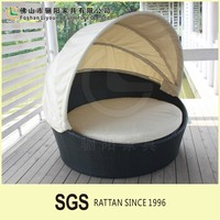 Best Discount And Favourable Price Wicker Outdoor Sun Loungers , Stylish European Style Comfortable Soft Rattan Roud Day Bed
