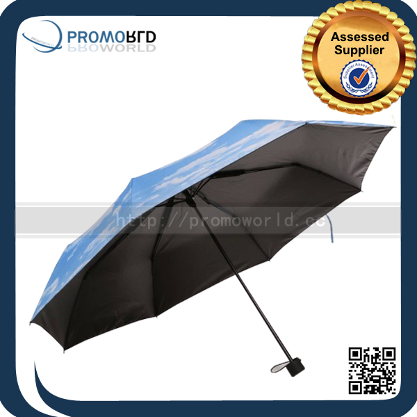 Double Layer Fabric Heat Transfer Print Ads 3 Fold Umbrella