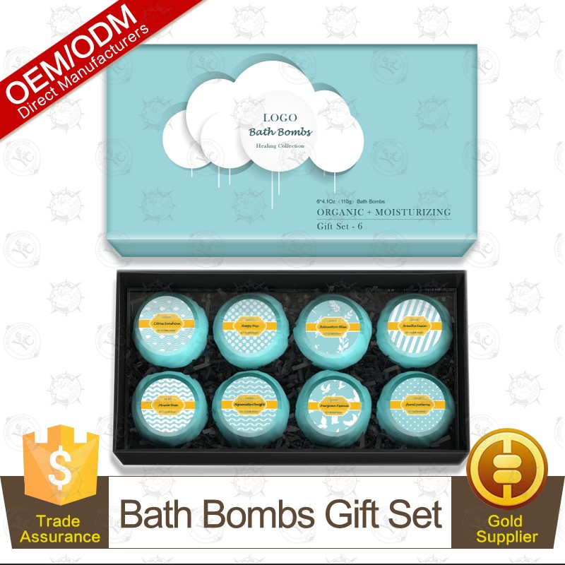 100% Pure and Natural Essential Oil Bath Fizzer Bomb Gift Set 8pcs OEM/ODM Professional Supplier