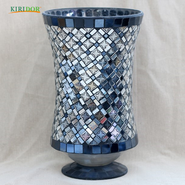2018 colored mosaic glass vase cylinder for decoration chinese handmade with best price