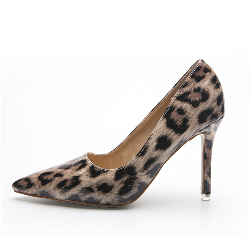 european and american leopard printed patent leather women sexy high heels stilettos shoes