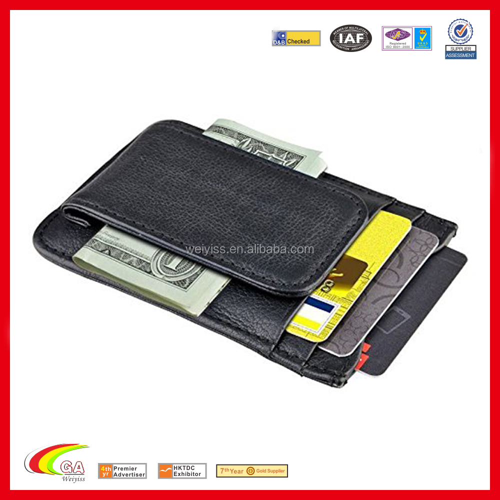 Genuine Leather Rfid Blocking Wallet With Money Clip, Custom Wallet Money Clip With Card Holder & ID Window