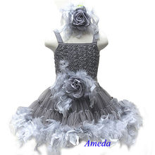 Silver Gray Rose Pettiskirt Wedding Party Flower Girl Feather PettiDress Matching Sash and Headband 1-7Y
