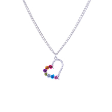 Heart Pendant Silver Plated Necklace with Colorful Rose Statement Choker for Women Jewelry