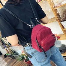 Cute Corduroy Mini Backpacks With Pom Poms Girls Backpack School Bags backpack wholesales 2018