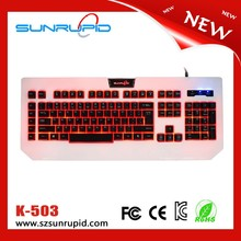 Professional 7 Colorful LED Light Up Wired Gaming Keyboard LED Keyboards with 5 Programmable Macro Keys