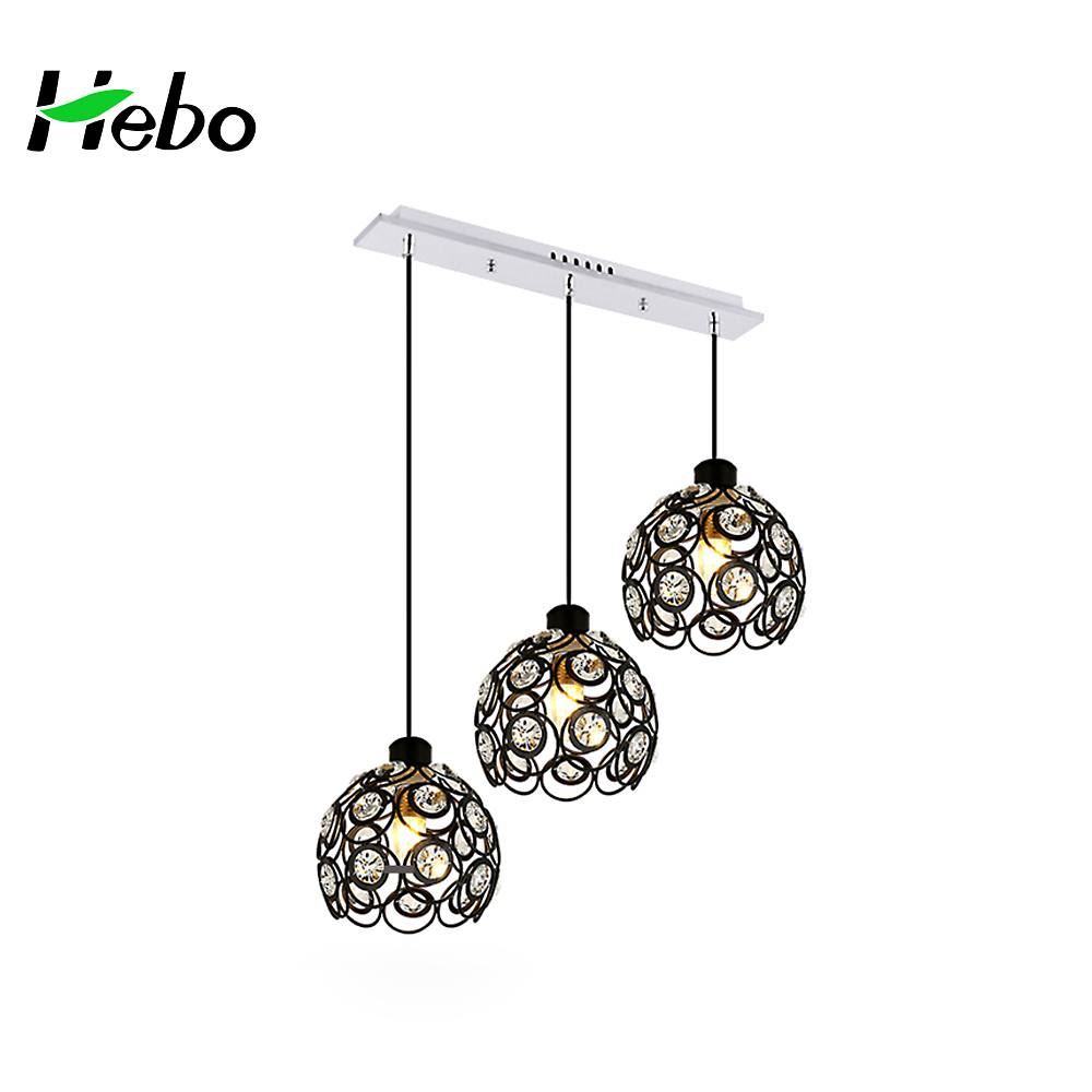 High Quality Cheap Modern Colorful Wrought Iron Crystal Round Shade Lampada Led E27 Pendant Light