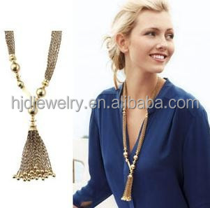 new handmade gold beads long chain cloth tassel necklace