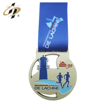 Cheap factory custom metal silver marathon race sports medals with ribbon