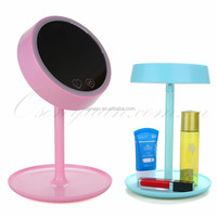 Desktop Lighted Round Makeup Mirror With LED Light Make up Lamp Mirrors Flexible Rotation & Organizer Function