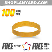 1/2inch silicone hand bands for women logo engraved