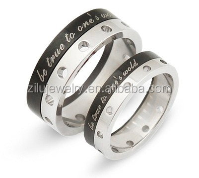 Zilu adjustable ZLKR8058 hollow-out stainless steel couple rings